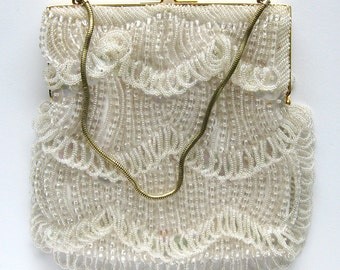 Vintage Heavily Beaded White Evening Bag - Beads and Sequins - Mid Century - Stunning Evening Bag