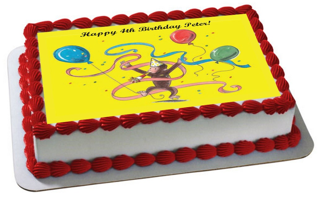 Edible Cake Images Curious George : Curious George Inspired Edible Frosting Topper by ...