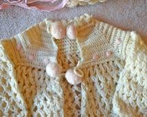 Hand Crochet Sweater, Hat & Booties for Newborn Girl