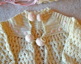 Hand Crochet Sweater, Hat & Booties for Newborn Girl
