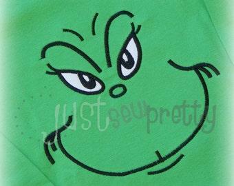 Mean Face Embroidery Applique Design