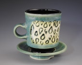 Green And Yellow Mug With Rain Drop Pattern  With Saucer