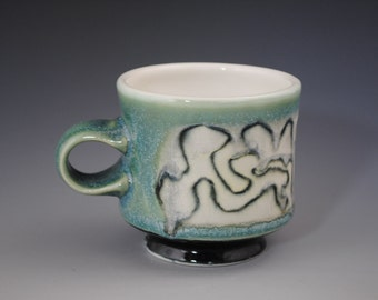 Green And Grey Mug with Squiggly Lines