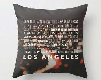 Los Angeles pillow cover, LA home decor Los Angeles decorative throw pillow black pillow bedding California cushion cover, Venice, Hollywood