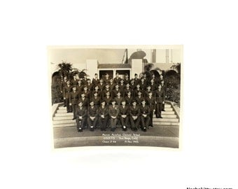 1940s Marine Aviation Clerical School Photograph, Vintage World War II, San Diego, California