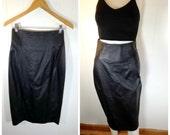 Vintage 1980s Black Leather High Waisted Skirt / Sz 8