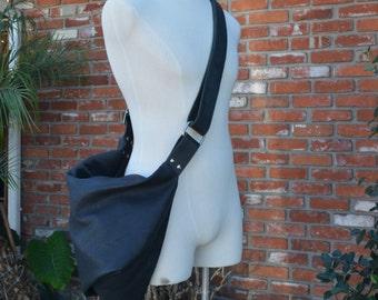 Black Bison Leather Sling Fold-over Adjustable Strap Bag
