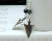 Silver Arrowhead Modern Dangle Earrings Tribal Geometric Hematite Drop Earrings