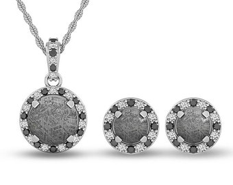 Diamond Meteorite Set with Matching Pendant and Earrings and White Gold Backs, Valentines Gift, Custom Jewelry