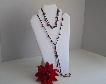 Red Vintage Inspired Gatsby 1920's Flapper Style Long Versatile Crochet Wrap Necklace by handcraftusa