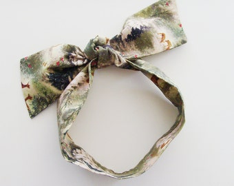 Woodland Deer Head Scarf / Rockabilly Hair Accessory / Beige, Green & Brown Neck Scarf / Handbag or Walker Adornment / Unique Gift Under 20