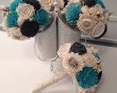 Teal and Gray Wedding Bouquet made with sola flowers - choose your colors -Custom - Alternative bridal bouquet - bridesmaids bouquet