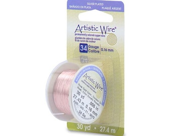 Artistic Wire 34 Gauge Silver Plated Rose Gold 43139 Dispenser 30yds Round Wire, Jewelry Wire, Soft Temper Wire, Rose Gold WIre, Craft Wire