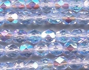 Czech Firepolish Beads 4mm Lt Sapphire Blue AB 17584 Round Beads, Faceted Beads, Fire Polish Beads, Jablonex Glass Bead, 4mm Czech Bead
