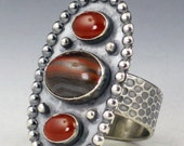 Large Tiger Iron and Carnelian Dots Ring, size 9 ring, large ring, boho ring, oval tiger iron ring, brown and red ring