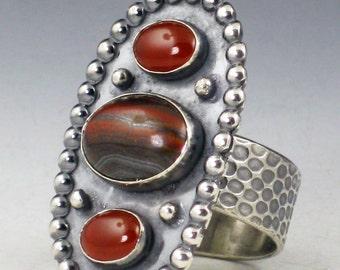 SALE Tiger Iron and Carnelian Ring, size 9 ring, large ring, boho ring, oval tiger iron ring, brown and red, tiger iron, carnelian, ring