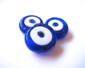 Cobalt Blue Evil Eye Beads - 3 pieces in a bag