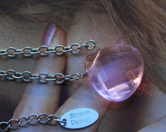 Pink Briolette Necklace. Pink briolette, wirewrapped briolette necklace by Stjern on Etsy
