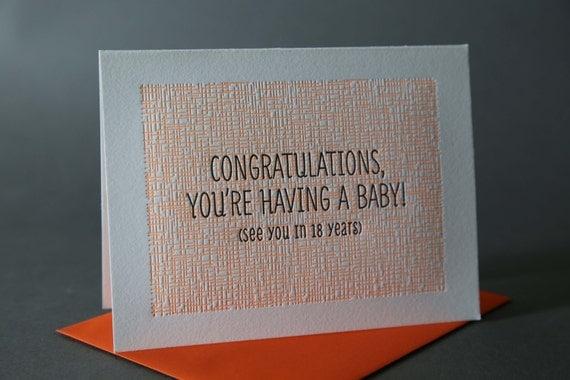 Neon Orange Baby Congratulations
