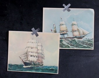 Pair of Antique Nautical Ship Boat Lithograph Prints 1940s Argo St. Paul Illustrations