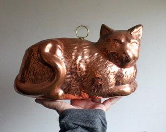 Vintage Copper Cat Mold, Kitten Jello Mold Wall Decor
