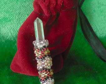 Beaded Quartz Crystal Wand / Point in Rose Pink / Red / Black / Gold - Small Size - OlyTeam