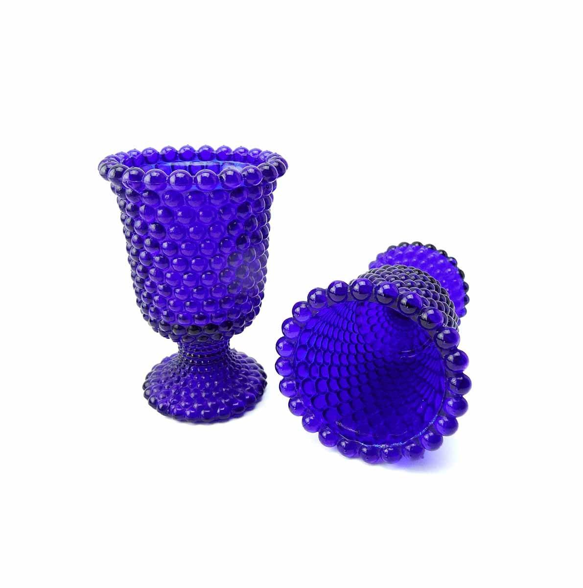 Set Of 2 Tall Vintage Cobalt Blue Hobnail Pressed Glass