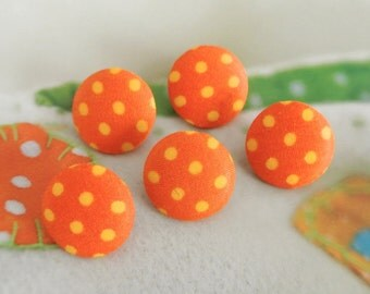 Handmade Retro Orange Yellow Polka Dots Fabric Covered Buttons, Retro Polka Dots Fridge Magnets, Flat Back, CHOOSE SIZE 5's