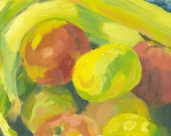 fruit still life painting oil on canvas small 6x8 Apples, Bananas and a Lemon