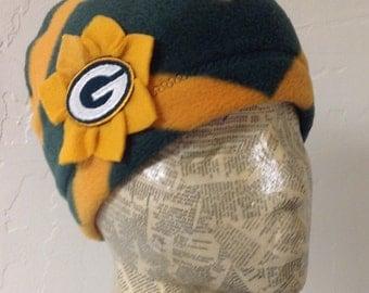 Green Bay Packers Fleece Hat - Chevron Striped - Womens