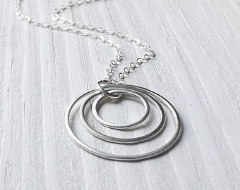 Sterling Silver Necklace Circles Pendant Three Circles Trio Necklace Eco Friendly Handmade Jewelry