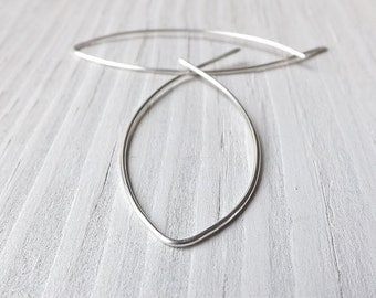 Silver Hoop Earrings, Large Fish Hoops Big Sterling Silver Open Hoop Earrings Long Threader Earring Minimalist Leaves Eco Friendly Jewelry