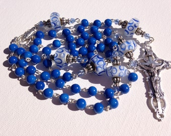 Handmade Blue River Stone Beaded Catholic Rosary, Custom Rosary, Made to order Rosary, Rosary Necklace, Blue Rosary, Men's Rosary