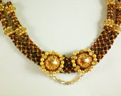 Crystal Lariat Necklace  in Golden Brown Unique  Beaded  Jewelry Romantic Gift