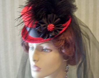 Red and Black Steampunk Mini Top Hat Wedding Hat Victorian Mini Top Hat Cosplay Hat Halloween Hat
