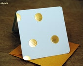 Blank Mini Card Set of 10, Metallic Confetti on White with Contrasting Pattern on the Inside, Metallic Gold Envelopes,mad4plaid