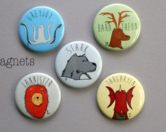 Game of Thrones House mascots MAGNET set - Stark,Lannister,Greyjoy,Baratheon,Targaryen Game of Thrones gift Game of Thrones birthday