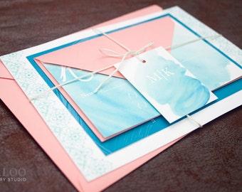 """Mexican Watercolor Beach Wedding Invitation Sample - """"Dorado"""""""