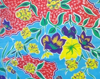 Vintage Cotton Yardage Gorgeous and Bright...1950's..Vintage Hawaiian Print Fabric..Vintage Floral Fabric..Vintage Yardage