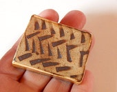 Tiny tile, rust cream colored tile with etched marks, miniature