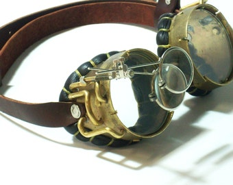 Real Brass Steampunk Goggles Mad Scientist Jules Verne Neo Victorian Steam Punk