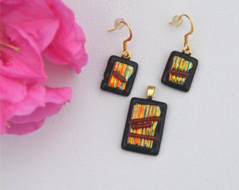 Stripes, gold and red, pendant and earring set, fused dichroic glass