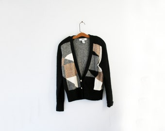 vintage 80s I See Shapes When I Argue Geometric Print Angora Colorblock Cardigan Sweater