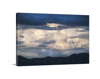 Indigo Art, Giclee Canvas, Stormy Sky, Blue Art, Sky Photographs, Print on Canvas, Storm Clouds, Arizona Monsoon, Thunderstorm Picture