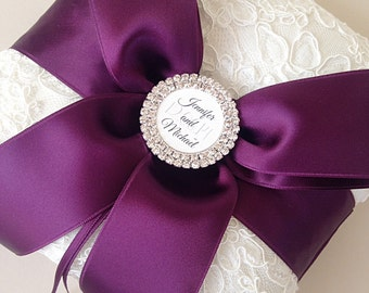 Personalized Ring Bearer Pillow - Ivory and Purple Lace Ring Bearer Pillow