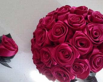 Satin rose bouquet/Brides bouquet/ Azalea rose Bridal bouquet/ Wedding bouquet/ Fuchsia rose bouquet