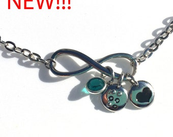 Infinity Braille initial charm necklace with birthstones Jewelry in Braille