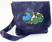 Vegan Porthole Handbag with Adjustable Strap, Navy Faux Leather, READY TO SHIP
