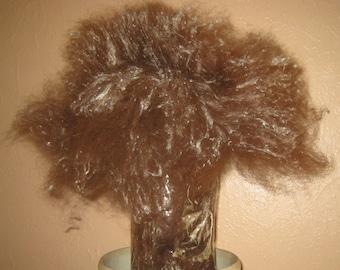 Made to Order Alpaca Batt with Silk Noil 3-Ounces, Spin Felt or Blend, Natural Dark Maroon Brown Fiber, My Farm Fibers