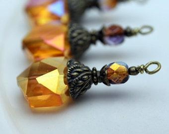 Golden Orange AB Hexagon Crystal and Czech Crystal Pendant Bead Earring Dangle Pendant Charm Drop Set